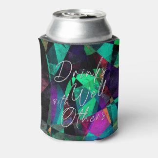 """""""よの飲み物カラフルな抽象美術の他と"""" 缶クーラー"""