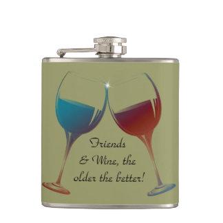 よりよいのより古い友人およびワインのおもしろいのフラスコ フラスク