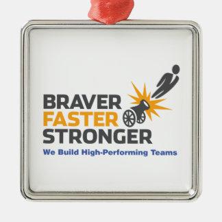 より勇敢でより速いより強い-ロゴ メタルオーナメント