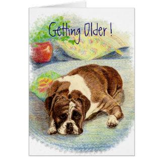 より古くなること! ユーモアのボクサー犬の挨拶 カード
