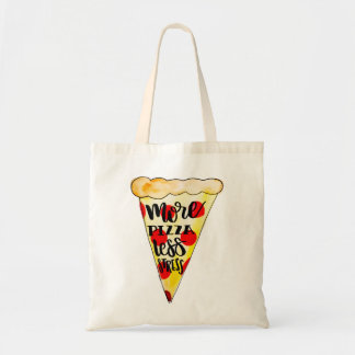 """""""より多くのピザより少ないストレス""""のトートバック トートバッグ"""