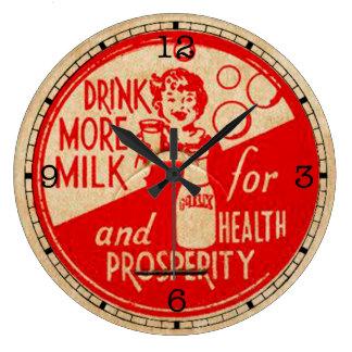 より多くのミルクのヴィンテージの時計を飲んで下さい ラージ壁時計