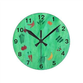 より多くの果物と野菜の柱時計を食べる時間 ラウンド壁時計