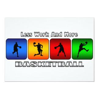 より少ない仕事およびより多くのバスケットボール 12.7 X 17.8 インビテーションカード