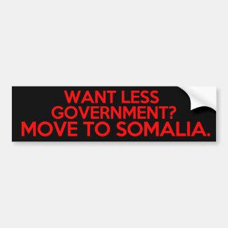 より少ない政府がほしいと思って下さいか。 ソマリアに動かして下さい バンパーステッカー