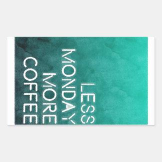 より少ない月曜日より多くのコーヒーによって洗浄されるプリント 長方形シール