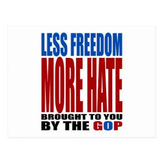 より少ない自由多くGOPによる憎悪 ポストカード