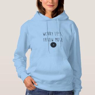 より少なく心配は、より多くの円盤投げの円盤投げのフード付きスウェットシャツを投げます パーカ