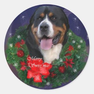より素晴らしいスイス山犬のクリスマスのギフト ラウンドシール