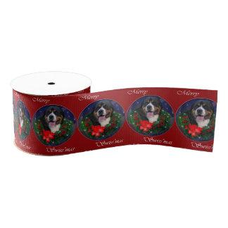 より素晴らしいスイス山犬のクリスマス グログランリボン
