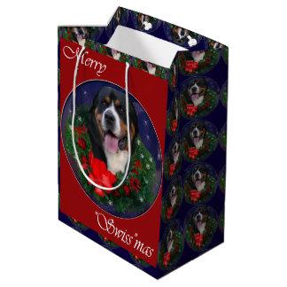 より素晴らしいスイス山犬のクリスマス ミディアムペーパーバッグ