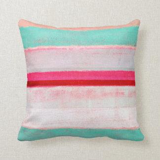 「より高く」ターコイズおよびピンクの抽象美術 クッション