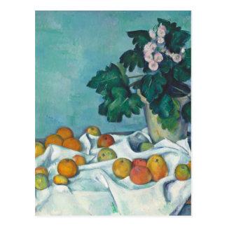 りんごおよびサクラソウが付いているポールCézanneの静物画 ポストカード