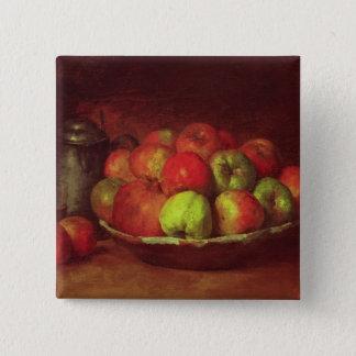 りんごおよびザクロが付いている静物画 5.1CM 正方形バッジ