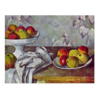 りんごおよびデザート用深皿とのポールセザンヌまだの生命 ポストカード