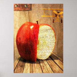 りんごおよび飛行機の超現実的な芸術 ポスター