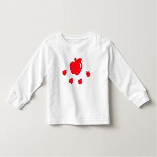 りんごが付いている幼児の長袖のTシャツ トドラーTシャツ