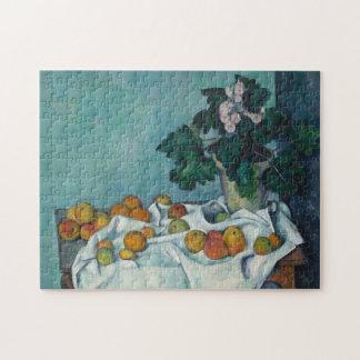 りんごが付いている静物画およびサクラソウのポット ジグソーパズル