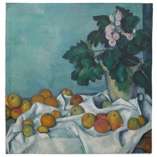 りんごが付いている静物画およびサクラソウのポット ナプキンクロス