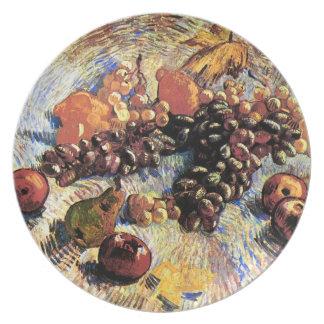 りんごのナシのレモン及びブドウのゴッホのファインアート プレート