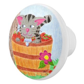 りんごのバスケットの陶磁器のノブの虎猫猫 セラミックノブ