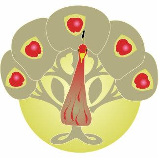 りんごの木か顔または孔雀 写真彫刻(台付き)