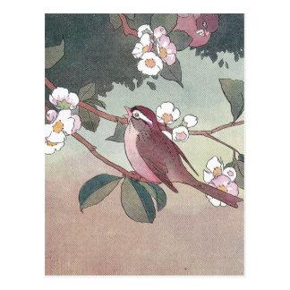 りんごの木の開花のすずめ ポストカード