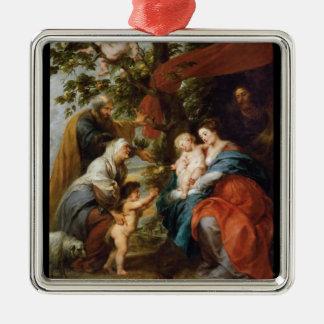 りんごの木Rubensポールの下の神聖な家族 メタルオーナメント