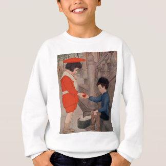 りんごを共有している2人の子供 スウェットシャツ
