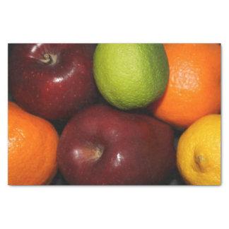 りんご、オレンジおよびライムのティッシュペーパー 薄葉紙