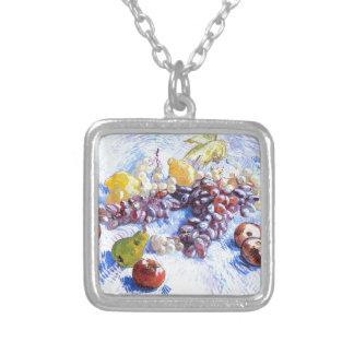 りんご、ナシ、ブドウ-ゴッホが付いている静物画 シルバープレートネックレス