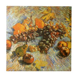 りんご、ナシ、ブドウ-ゴッホが付いている静物画 タイル