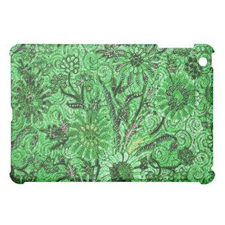 ろうけつ染めのモチーフのBuket-Kelir-Pacit-Ungkerの緑のipad iPad Miniカバー