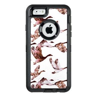 ろうけつ染めの挨りだらけのばら色のガチョウの飛行中に水鳥動物 オッターボックスディフェンダーiPhoneケース