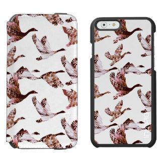ろうけつ染めの挨りだらけのばら色のガチョウの飛行中に水鳥動物 iPhone 6/6Sウォレットケース