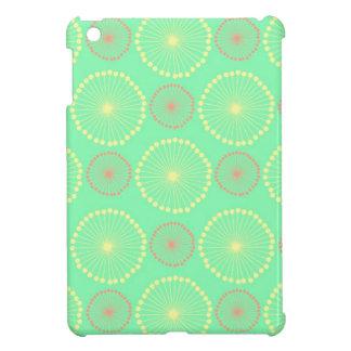 ろうけつ染めの種族のガーリーな花のシックな緑のドット・パターン iPad MINIカバー