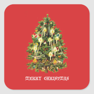 ろうそくに照らされたクリスマスツリーは花輪を飾ります スクエアシール
