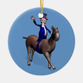 ろばの米国市民乗馬 セラミックオーナメント