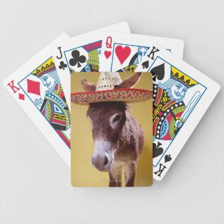 ろば(Equusのhemonius)の身に着けている麦わら帽子 バイスクルトランプ