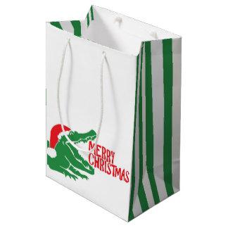 わにクリスマスのギフトバッグ ミディアムペーパーバッグ