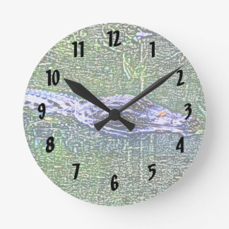 わに水泳の頭部色の鉛筆の効果 ラウンド壁時計