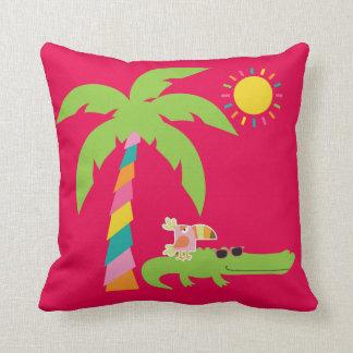 わに、フラミンゴ、Toucanが付いている熱帯枕 クッション