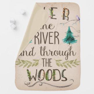 を通した川にそして森のベビーブランケット ベビー ブランケット