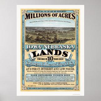 アイオワおよびネブラスカの土地広告1872年 ポスター