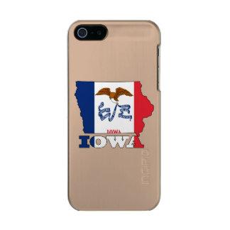 アイオワの地図の旗 メタリックiPhone SE/5/5sケース