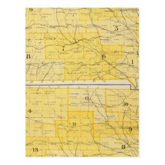 アイオワの州の地図 ポストカード