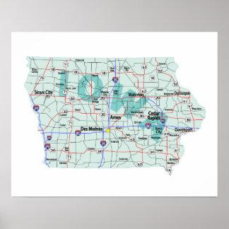 アイオワの州連帯の地図のプリント ポスター
