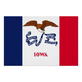 アイオワの旗が付いている愛国心が強い壁ポスター ポスター