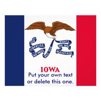 アイオワ、米国の旗が付いているフライヤ チラシ