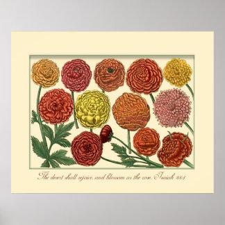アイザイアの聖なる書物、経典の詩と植物のヴィンテージ ポスター